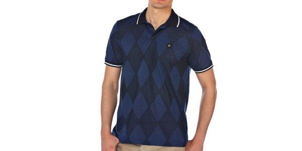 Pánské modré kárované polo tričko M. Conte