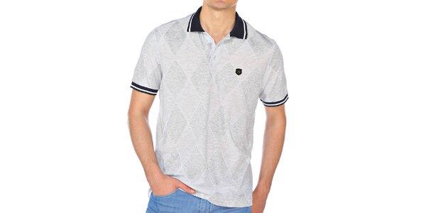 Pánské šedé kárované polo tričko M. Conte