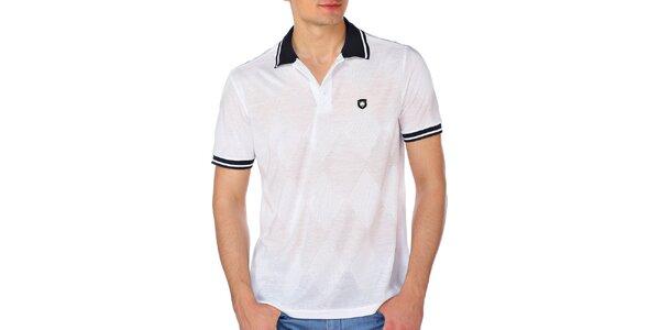 Pánské bílé kárované polo tričko M. Conte