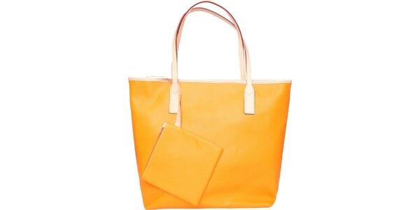 Dámská světle oranžová kožená kabelka Made in Italia s béžovými detaily