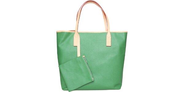 Dámská trávově zelená kožená kabelka Made in Italia s béžovými detaily