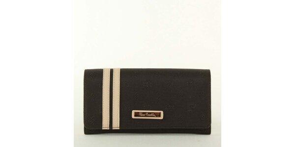 Dámská peněženka s pruhy a kovovým plíškem Pierre Cardin