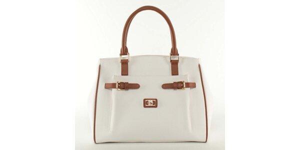 Dámská bílá kabelka s hnědými prvky Pierre Cardin