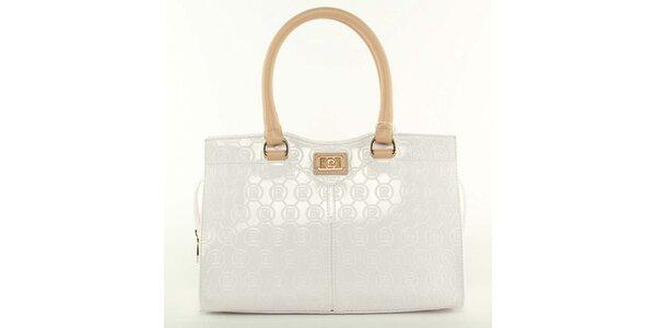 Dámská bílá kabelka s béžovými poutky Pierre Cardin