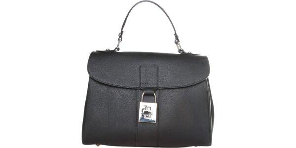 Dámská černá kožená kabelka Made in Italia