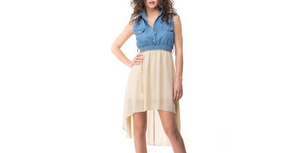 Dámské modro-béžové šaty Sixie