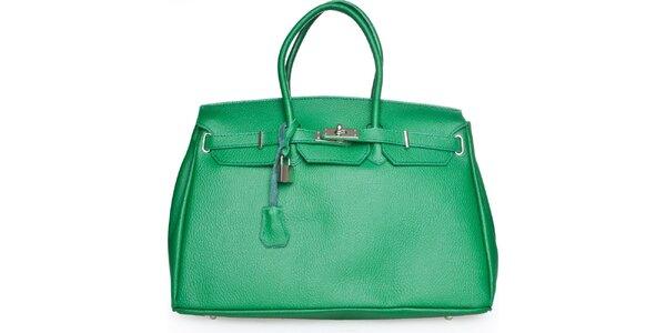 Dámská zelená kožená kabelka Made in Italia
