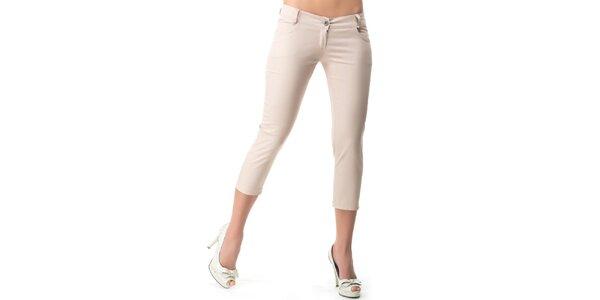 Dámské béžové capri kalhoty s 5 kapsami Sixie