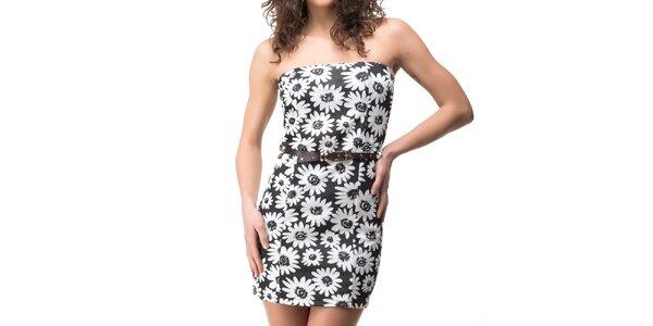 Dámské černé šaty s květinovým potiskem Sixie