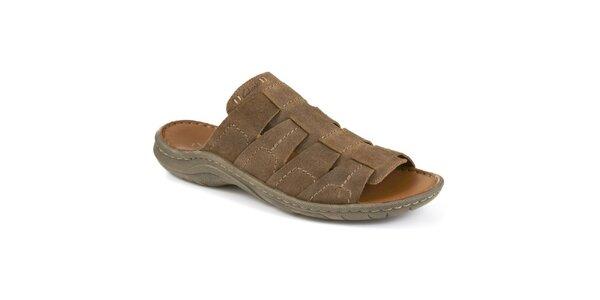 Pánské hnědé semišové pantofle Clarks
