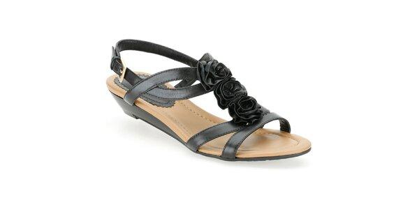 Dámské černé sandálky s růžičkami Clarks
