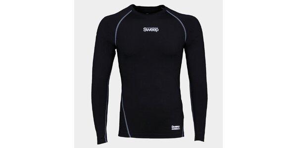 Pánské černé kompresní tričko Sweep s dlouhým rukávem