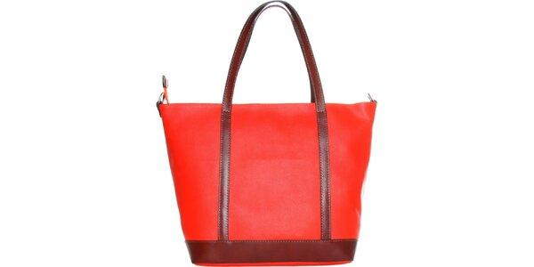 Dámská ohnivě červená kabelka Made in Italia s hnědými uchy