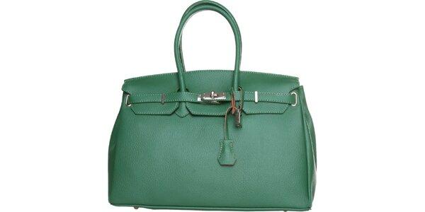 Dámská tmavě zelená kožená kabelka Made in Italia