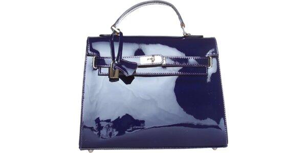 Dámská kobaltově modrá lakovaná kabelka Made in Italia
