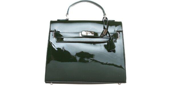 Dámská tmavě zelená lakovaná kabelka Made in Italia