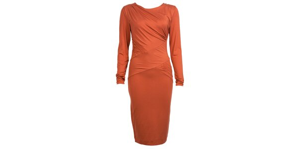 Dámské oranžové šaty s dlouhými rukávy CeMe London
