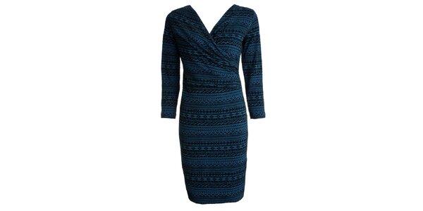 Dámské černo-modře vzorované šaty CeMe London