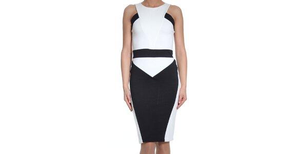 Dámské černo-bílé šaty bez rukávů SforStyle