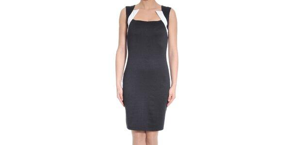 Dámské černé šaty s bílými prvky SforStyle