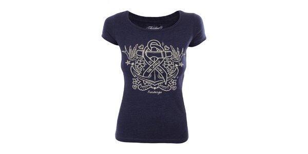 Dámské modré tričko s potiskem kotvy Fundango