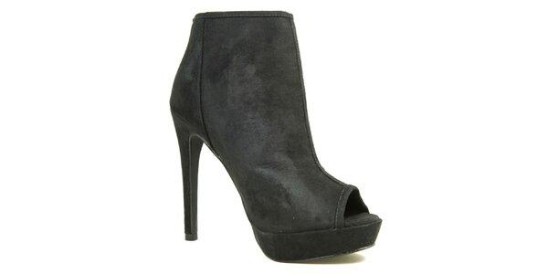 Dámské tmavé boty na podpatku s otevřenou špičkou London Rebel