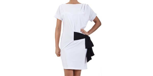 Dámské bílé šaty s černou mašlí SforStyle