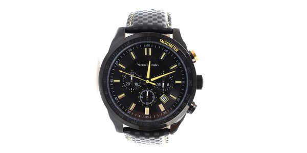 Pánské černé hodinky s koženým páskem Yves Bertelin