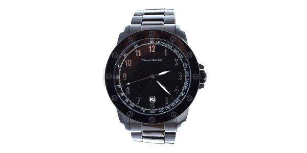 Pánské černé hodinky se zdobenou lunetou Yves Bertelin
