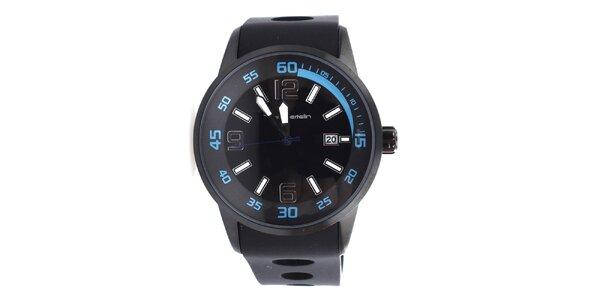 Pánské černé hodinky s modrými detaily Yves Bertelin