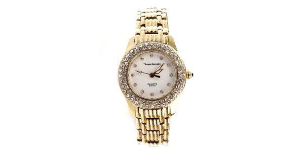 Dámské ocelové hodinky ve zlaté barvě Yves Bertelin