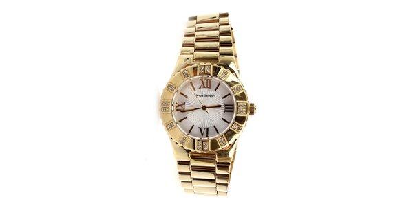 Dámské zlaté hodinky s římskými číslicemi a kamínky Yves Bertelin