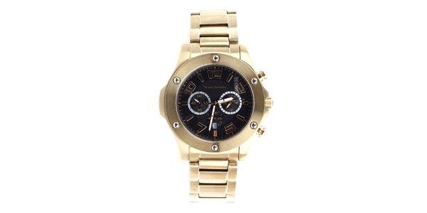 Pánské zlaté hodinky s černým ciferníkem Yves Bertelin