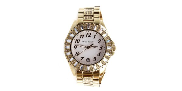 Dámské zlaté hodinky zdobené kamínky Yves Bertelin