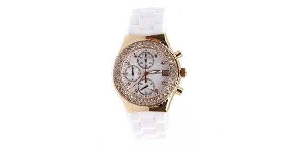 Dámské hodinky s bílým řemínkem a chronografem Yves Bertelin