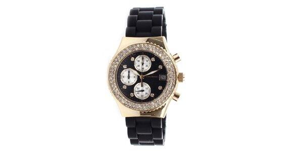Dámské zlaté hodinky s černým řemínkem Yves Bertelin