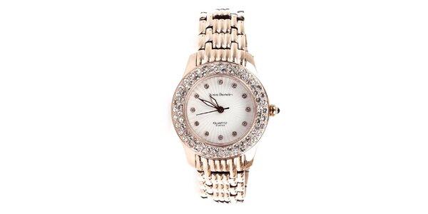 Dámské zlaté hodinky s kamínky Yves Bertelin