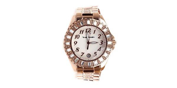 Dámské hodinky s efektem růžového zlata zdobené kamínky Yves Bertelin