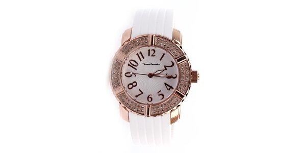 Dámské hodinky s bílým gumovým páskem Yves Bertelin