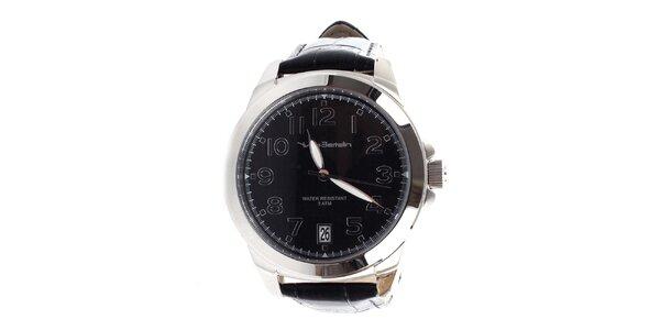 Pánské hodinky s černým koženým páskem Yves Bertelin