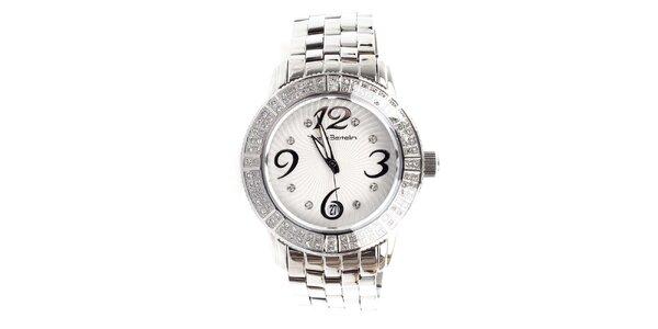 Dámské stříbrné hodinky s kamínky Yves Bertelin