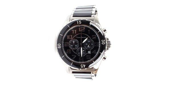 Pánské černo-stříbrné hodinky Yves Bertelin