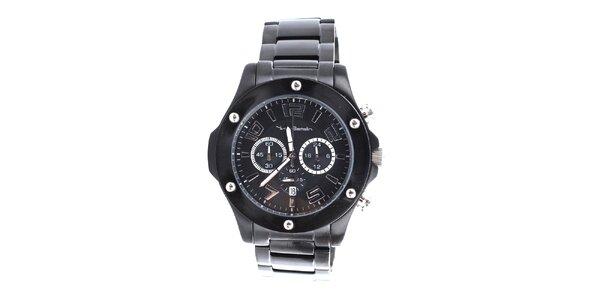 Pánské černé hodinky s chronografem Yves Bertelin