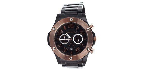 Pánské černé hodinky s bronzovými prvky Yves Bertelin
