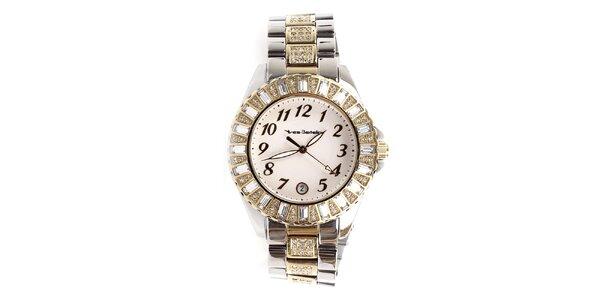Dámské hodinky se zlatými prvky a kamínky Yves Bertelin