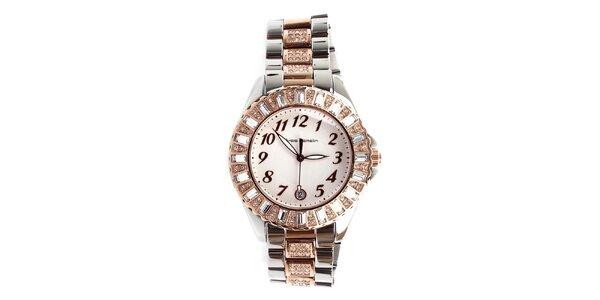 Dámské stříbrno-zlaté hodinky s kamínky Yves Bertelin