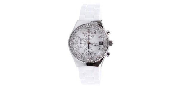 Dámské bílé hodinky s bílými kamínky Yves Bertelin