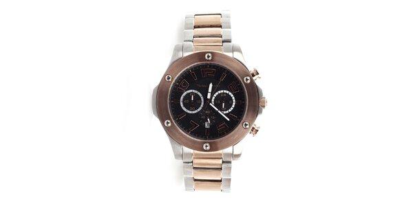 Pánské stříbrno-zlaté hodinky s hnědou lunetou a chronografem Yves Bertelin