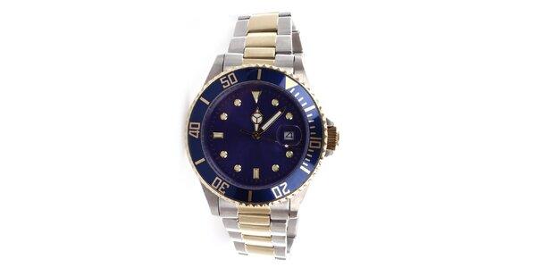 Pánské ocelové hodinky s modrým ciferníkem Yves Bertelin