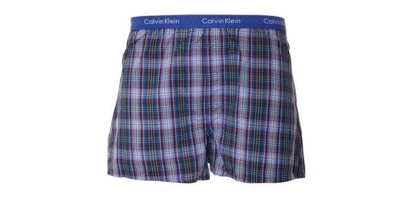Pánské kostkované trenýrky Calvin Klein v modré barvě